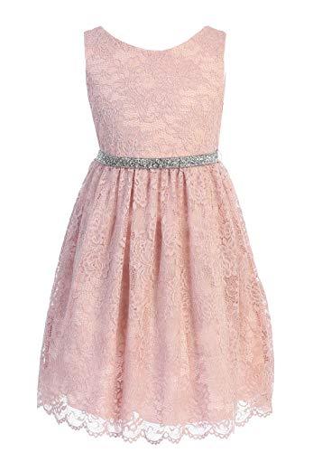 Big Girl Stretch Dress with Scallop Edges Husky Plus Size Flower Girl Dress Blush Pink Size 16 Husky