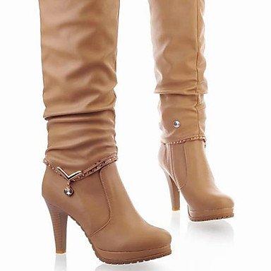 RTRY Zapatos De Mujer Otoño Invierno Pu Confort Botas Chunky Talón Puntera Redonda Rodilla Botas Altas Para Casual Negro Beige US5 / EU35 / UK3 / CN34