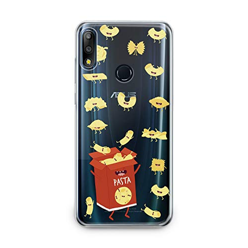 Lex Altern TPU Case Asus Zenfone Max Plus M1 M2 5z 5 Lite 4 Selfie Pro Clear Cute Pasts Box Red Hungry Yellow Funny Macaroni Silicone Cover Protective Flexible Girls Kawaii Design Women Transparent -
