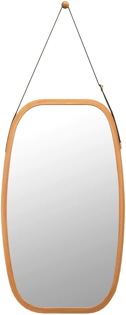 Bathroom Mirror Full Length Mirror – Wall Mount Bamboo Frame Adjustable Hanging Strap Home D cor Dressing Hall Fitting Room