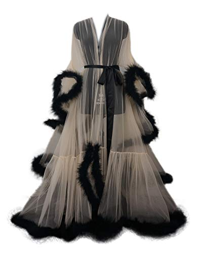 Sexy Feather Bridal Robe Tulle Illusion Long Wedding Scarf New Custom Made � (Champagne+Black)
