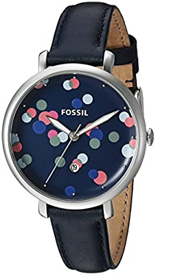 Fossil Women's ES4103 Jacqueline Three-Hand Blue Leather Watch