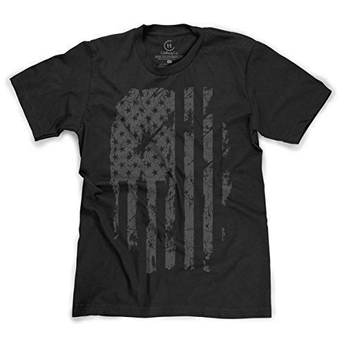 T and T Clothing Patriotic American Flag Distressed USA Pride T-Shirt - (Black) (American Flag Black T-shirt)