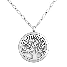 Charmed Craft Family Tree Aromatherapy Essential Oil Diffuser Necklace Stainless Steel Locket Pendant