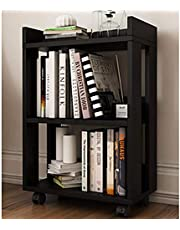 hylla modern minimalistisk liten trä liten bokhylla bokhylla med hjul, rektangel golvstående flyttbar dubbel förvaring Svart valnöt