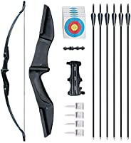 """Enxi Archery Recurve Bows 53.5"""" Takedown Bow and Arrow Set for Adults - Left or Right Hand 30LB 40LB Bow"""