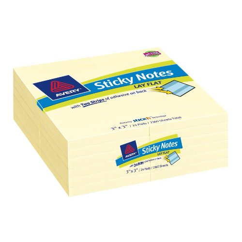 Lay Flat Sticky Pads - Avery Lay Flat Sticky Notes, 3 x 3 Inches, Yellow, Removable, Pack of 2160 (22655)