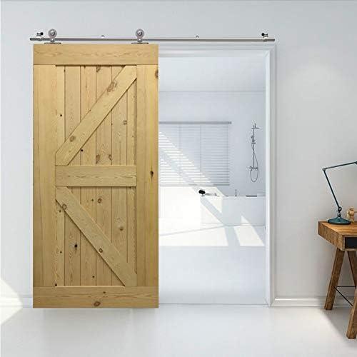 6FT/182cm Herraje Puerta Corredera Acero Inoxidable, Herraje para puerta Sistema Carril de acero inoxidable madera puerta corredera Puerta Corredera: Amazon.es: Bricolaje y herramientas