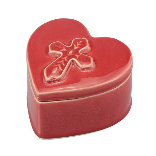 Stonebriar Accents of Faith Red Ceramic Heart Shaped Cross Trinket Box