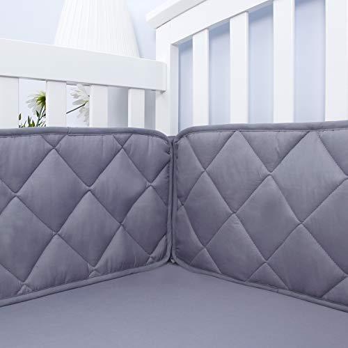 "Baby Bumper Pads for Crib Bedding,Nursery Gray Crib Bumper Pads Fit for Standard Size Crib(52""x28""),Washable & Soft Baby Crib Padding for Boys from Biloban"