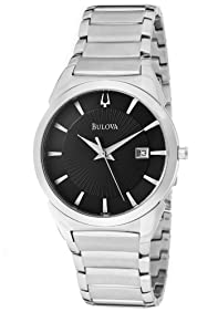 Bulova Men's 96B149 Dress Silver Tone/Black Textured Stainless Steel Watch
