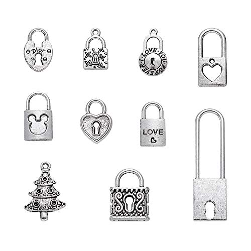 Craftdady About 35pcs/100g Mixed Set of Antique Silver Lock Charms 18~49.5x10~17mm Tibetan Alloy Lock Pendants Collection for DIY Jewelry Craft Making ()