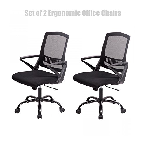 Modern Mid Back Office Chair Ergonomic Mesh Seats Back Supports Soft Sponge Upholstery Hydraulic Adjust Home Office Desk Furniture - Set of 2 Black/Black Base # - Mississauga Black Friday