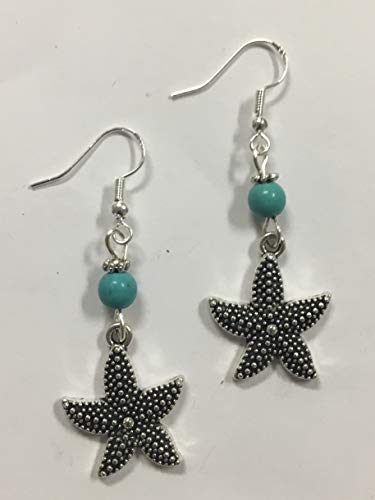 Starfish Earrings, Beach Earrings, Nautical Earrings, Coastal Earrings - with turquoise stone accent beads, on sterling silver -