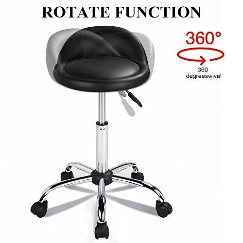 Yaheetech Adjustable Rolling Swivel Salon Stool Spa Massage Manicure Tattoo Chair Black
