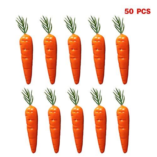 Fewxdsad 50 piezas de zanahoria artificial realista de simulación de frutas y verduras para decoración del hogar o la…