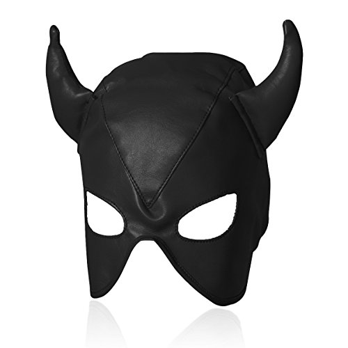 Evaliana Devil Role Play PU Face Mask Horn Masquerade Halloween Costume Party -