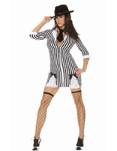 Size Gangster Plus Girl Costumes (Elegant Moments Women's Plus-Size Gangster Girl, Black/White,)