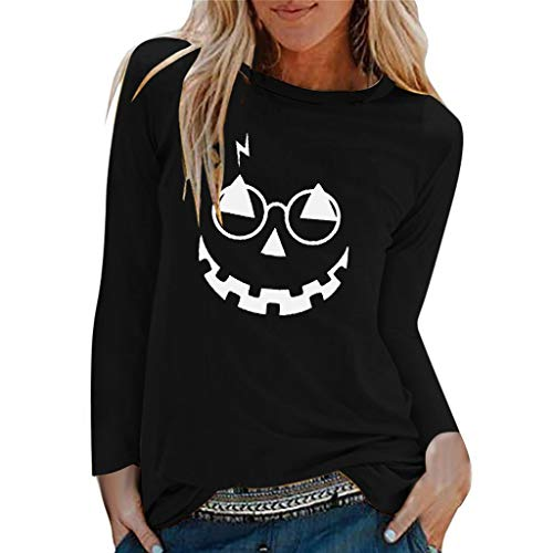 QIQIU Smile Pumpkin Print Tops, Womens Loose Casual O-Neck Solid Halloween Trick Party Long Sleeve Shirts Blouses Black