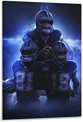 qiaoke American Football Dak Prescott Amari Cooper Ezekiel Elliott Dallas Cowboys Poster Decorative Painting Canvas Wall Art Living Room Posters Bedroom Painting 24x36inch 60x90cm