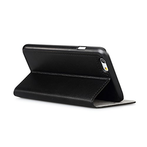 GGMM Kiss Plus-A6+ Genuine Leather Cover mit Screen Protector für Apple iPhone 6 Plus schwarz