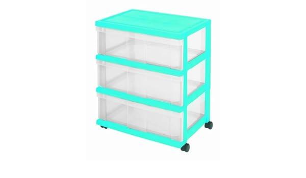IRIS Cajón con Ruedas de plástico, Cómoda con 3 cajones, contenedores Azules, 3 aparador cajón, Armedietto con Ruedas, Armario Empotrado plástico, ...