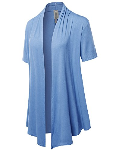 Light Jersey Blue (Made by Emma Solid Jersey Knit Draped Open Front Short Sleeves Cardigan Bright Blue 3XL)