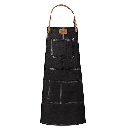 Denim Protective Work Apron for Cooking BBQ, Black Heavy Duty Chef Waiter Jeans Apron for Cafe Restaurants Bars, Bistro Server Apron Uniforms with 5 Tool Pockets for Men Women by Facmogu