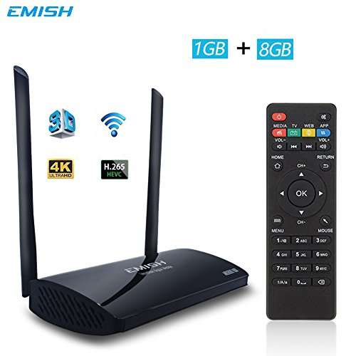 EMISH X800 Android TV Box 6.0, 4K 3D Smart TV Moving Box,1080P Media Blue-Ray Player, Rockchip 3229 Quad Core EMMC 8GB, Built-in Wifi, Game Player for TV, (Media Cache Halloween)