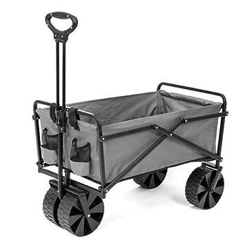 Seina Collapsible Steel Frame Folding Utility Beach Wagon Cart, Gray Open Box