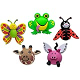 Tenna Tops 5 Pcs Pack - Assorted Top Sellers Car Antenna Toppers/Antenna Balls/Car Mirror Danglers (Butterfly, Frog, Ladybug, Giraffe, Flying Pig)