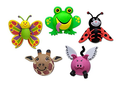 Tenna Tops 5 Pcs Pack - Assorted Car Antenna Toppers/Antenna Balls/Car Mirror Danglers (Butterfly, Frog, Ladybug, Giraffe, Flying Pig)