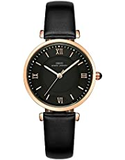 IBSO Ladies Watches Leather Band Round Case Fashion Women Watches relojes Mujer (6602-Black)