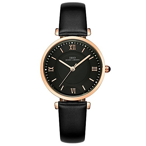 (IBSO Ladies Watches Leather Band Round Case Fashion Women Watches on Sale relojes Mujer (6602-Black))