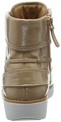 para Up Lace Botines Fitflop Marrón Gianini Crinkle 076 Mujer Patent Taupe gqp4Ca