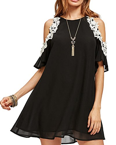 Lace Cold Sleeve Loose A Line Summer Chiffon Tunic Dress Plus Size S-4XL (Small, Black) ()