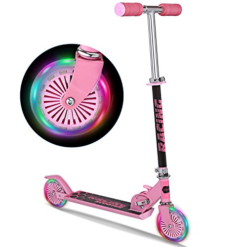WeSkate B3 Scooter for Kids with LED Light Up Wheels, Adjustable Height Kick Scooters for Boys and Girls, Rear Fender Break|5lb Lightweight Folding Kids Scooter, 110lb Weight Capacity