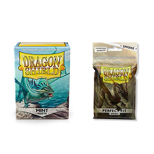 (Dragon Shield Matte Mint + Inner Sleeve Smoke Standard Size 100 ct Card Sleeves Bundle)
