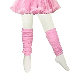Bowbear Little Girls 3 Pair Layered Ruffles Leg Warmers, White, Black, Pink