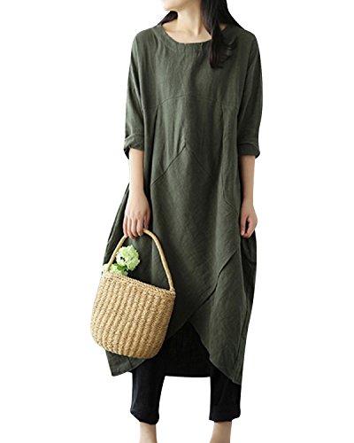 4ad650dcef Jacansi Women Plus Size Long Sleeve Round Neck Cotton Linen Loose Long  Kaftan Dress M-5XL. Published August 2