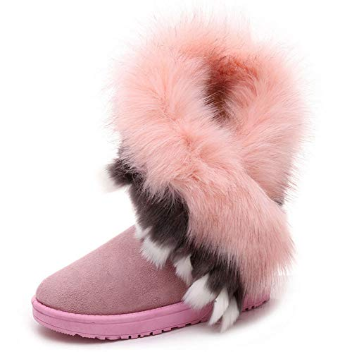 (King Ma Women's Faux Fur Tassel Winter Snow Boot Suede Flat Ankle Boots Pink)