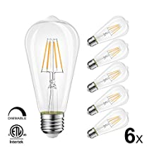 LVWIT ST64 LED Filament Bulb 4.5W 460 Lumens Edison Style Dimmable LED Light Bulbs 3000K Soft White E26 Medium Base 40 Watt Equivalent 6 Pack