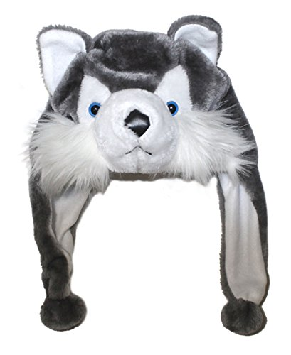 Costumes Dog Husky Funny (Lucore Husky Dog Soft Plush Animal Faux Fur Funny Hat- Novelty Winter Ski Aviator Costume Hoodie with Scarf)