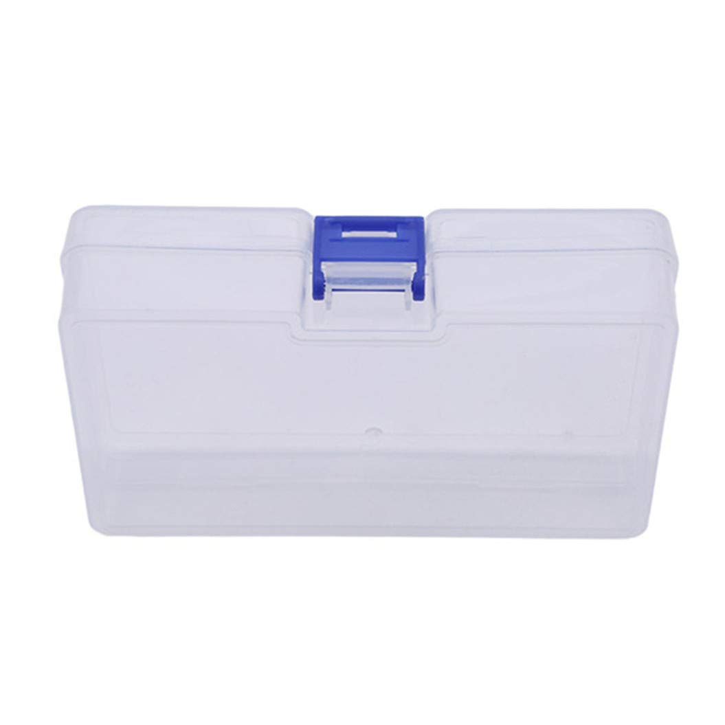 LZIYAN Rectangular Nail Storage Box Clear Transparent Nail Art Beads Organizer Display Box Container For Jewelry Rings,Blue buckle by LZIYAN (Image #2)