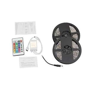 Bsuper Mart V092 - Tira Luz RGB 300 LED 5050 SMD DC 12V 10M 2X5M Barco Mando 24 Tecla