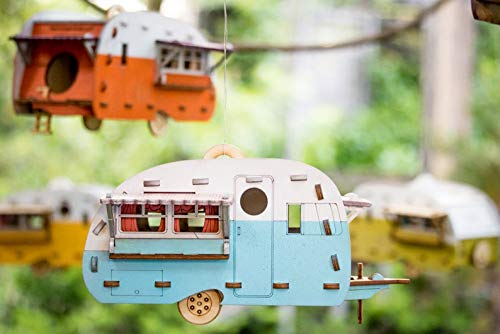 (Vintage Camper Bird House Scale model playset you can build and use! Bring back the love of travel and camping with a miniature trailer toy.)