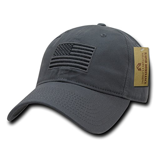 Law Enforcement Memorial - RapDom Polo Style American Pride Flag Baseball Caps Tonal Flag Dark Grey