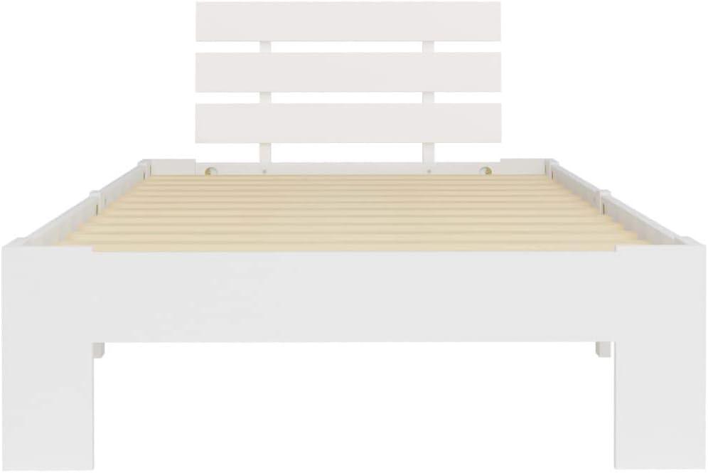 Tidyard Cadre de Lit Double Chambre avec Sommier en Lattes Bois de Blanc Pin Massif 90 x 200 cm