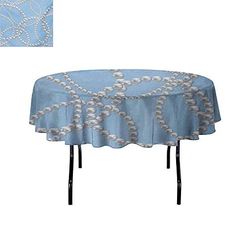 GloriaJohnson Pearls+Leakproof+Polyester+Round+Tablecloth+Pearl+Necklace+Bracelet+Classic+Women+Bridal+Groom+Shower+Theme+Feminine+Art+Outdoor+and+Indoor+use+D59+Inch+Baby+Blue+White+