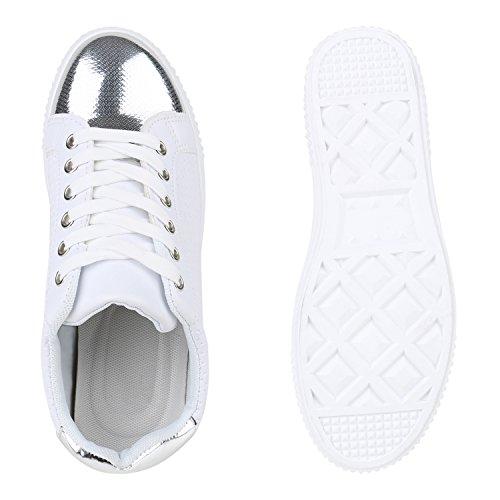 b8eef5887a0d ... Weiss Turnschuhe Schuhe Schnürer Lack Sneaker Flandell Stiefelparadies  Lack Sneakers Gesteppte Freizeitschuhe Low Damen Flats Glitzer